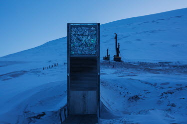 The entrance door to the Global Seed Vault where, in recent years, the main tunnel has experienced some flooding due to permafrost melt. Temperatures in this region are warming faster than anywhere el...