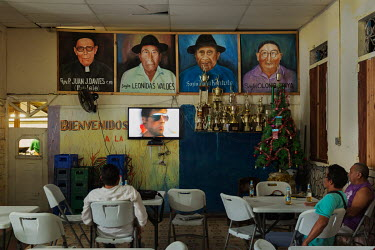 Panama City, Panama. 08/12/2017. Pictures of historical leaders of the indigenous Guna people in the Gardi Sugdub Center, where ex-residents from the San Blas Archipelago, gather in Panama City.