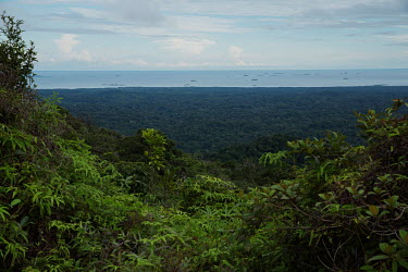 A view over Guna Yala province on the Caribbean coast of Panama, with the San Blas archipelago in the background.