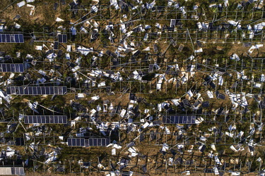 A solar energy plant destroyed after the passage of Hurricane Maria.