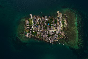 An aerial view of Carti Yandup island in the San Blas Archipelago. Islands in the archipelago are suffering from destructive tidal surges and human overpopulation, forcing the indigenous Guna people t...