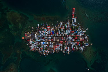 An aerial view of an Gardi Sugdub, or Crab island which is inhabited by Guna people. Islands in the archipelago are suffering from destructive tidal surges and human overpopulation, forcing the indige...