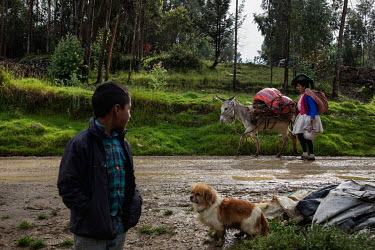 A boy watches as a woman walks along a muddy road with a donkey in the community of Llupa.