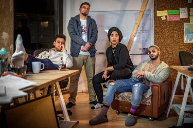 Members of the audiovisual collective Datteltater, who produce a successful weekly video of Muslim satire which is broadcast on YouTube. Its operational headquarters is a house in the multicultural We...