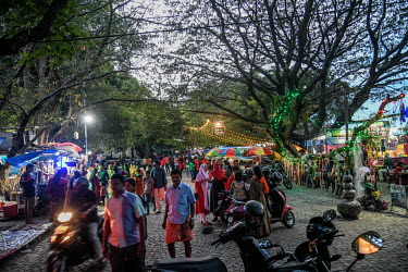 People gather at the stalls in Vasco da Gama Square in Fort Kochi.