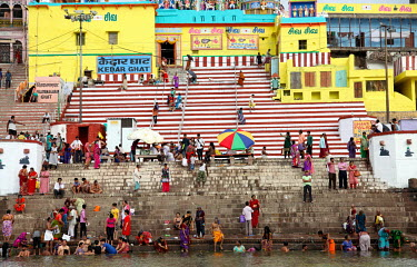 People gather on one of the Ganges River ghats for ritual bathing.