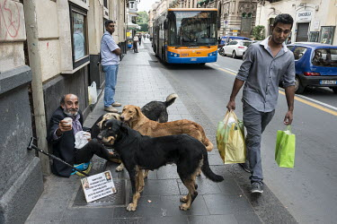 A beggar surrounded by street dogs in Catania.