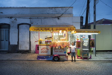 A candy floss and ice cream stand in Barreiro, a former industrial town that was the home of Companhia Uniao Fabril (CUF) which, from the 1930s until 1974, was one of Portugal's biggest chemical corpo...