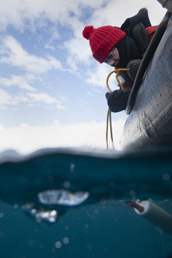 Scientist Nacim�Guellati collects water samples from a rhib in Paradise Harbour to use in eDNA sampling work   Environmental DNA monitoring uses filters to trap free-floating DNA that has been left...