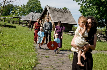 A group of local lovers of the history of the Goths, dressed in historical clothes, at a reconstructed Goth village which, according to excavations, existed at the site in the third century.