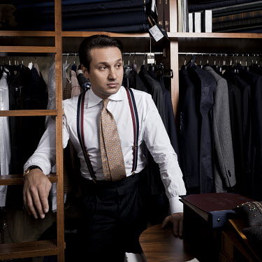Artisan tailor Maciej Zaremba at his workshop.