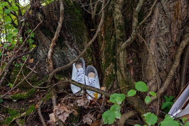 Pair of shoes hidden in among the trees and undergrowth along the banks of the Avre River, behind the Queue d'Avre sport complex. The trees and the steepness of the banks mean that, despite being in t...