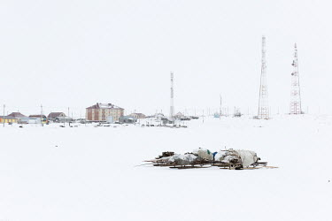 Nomads sleighs left outside Panaevsk, a Nenets settlement in the tundra situated on the banks of the Ob River.