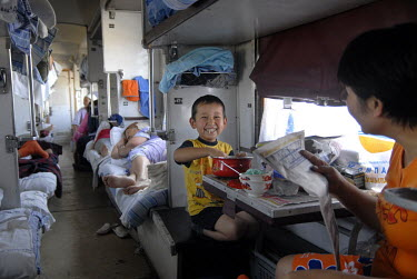 Passengers on the train to Shymkent.