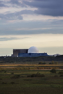Sizewell Nuclear Power station viewed across the Minsmere RSPB (Royal Society for the Protection of Birds) reserve.