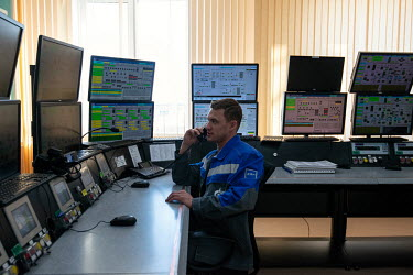 Staff monitor information displays in the central control room in the GP 2 gas production facility at the Bovanenkovo natural gas field on the Yamal Peninsula much of which is controlled and operated...