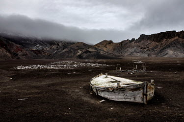 The remains of a wooden boat lie along the shore of Whalers Bay, Deception Island in the South Shetland Islands.   The Greenpeace ship MY Esperanza is on the final leg of the pole to pole voyage fro...