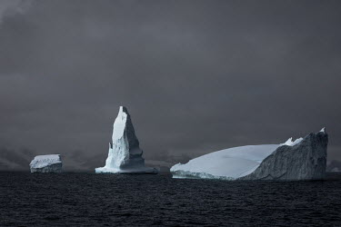 Icebergs float in the sea off the South Orkney Islands.  The Greenpeace ship MY Esperanza is on the final leg of the pole to pole voyage from the Arctic to the Antarctic. The almost year-long voyage i...