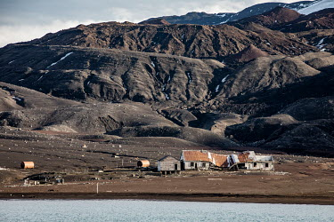 Whalers Bay, Deception Island, in the South Shetland Islands. The remains of a whaling station built by Norweigans in the early 20th century. The station was abandoned in 1931 after a collapse in the...