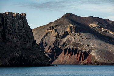 Deception Island in the South Shetland Islands. The island is actually the caldera of an active volcano. It last erupted in 1969 forcing the British to abandon their research station on the island....