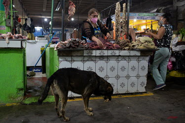 Dina Chavez, 37, arranges beef offal on her butcher's stand inside Escuintla City's main marketplace.