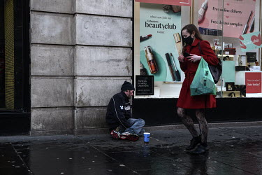 James Muir, a homeless drug user, begging on the streets of Glasgow during the coronavirus pandemic.
