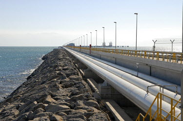 Pipes connecting the BTC oil terminal with a double pier where oil tankers take on their cargo. The Baku-Tbilisi-Ceyhan pipeline is a crude oil pipeline that covers 1768 kilometres from the Azeri-Chir...