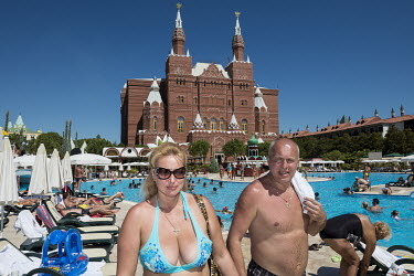 Russian tourists in the Kremlin Palace Resort. This five star hotel is an architectural replica of Moscow's famous landmark.