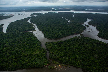 A stretch of the Xingu river between the Belo Monte dam and Altamira, seen in 2011 before the dam's construction. The total area flooded by the reservoir was nearly 516 km2, and all these islands form...