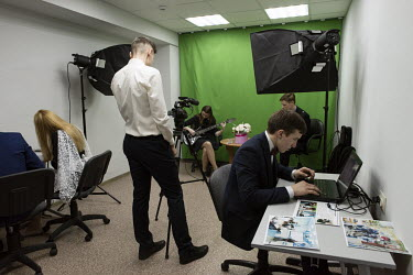 A multi-media lesson for students in a Gazprom-sponsored class at a school in Nadym. The best achieving students attend the class, chosen for their abilities and because they want to link their profes...