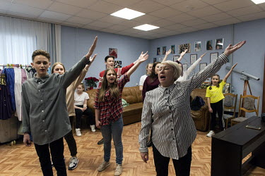 A music and dance group from the 'Prometheus Club' rehearse a routine dedicated to the 'Day of the Oil and Gas Industry workers'.The club teaches 370 children and has 24 vocal and dance groups.�The...