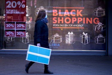 A Black Friday Sale sign in the window of a shop on the Tauentzinstrasse.