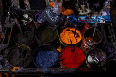 Powder dyes in a traditional dyer's workshop in the medina.