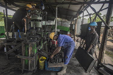 A worker collects fuel briquettes produced by Green Bio Energy based on agricultural residues and leftover coal, its combustion up to twice as slow as traditional fuels, allowing savings of 40 to 50%...