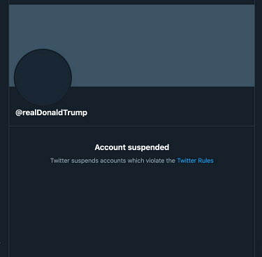 A screen grab of Donald Trump's closed Twitter account, @realDonaldTrump, after the soon-to-be ex-President was banned from the site. The company made a the following statement in response messages po...