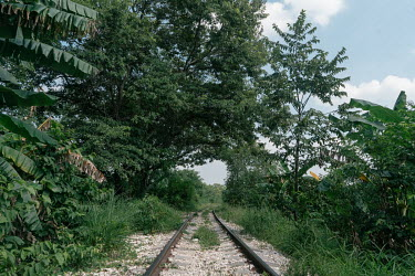 The train tracks where 'La Bestia', or the Beast passes through, the train that many migrants have illegally ridden north.