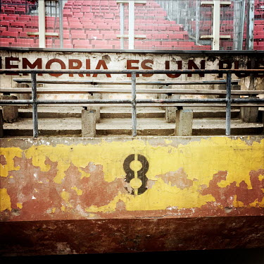 The inner circle of the national stadium (Estadio Nacional), which is now a memorial to political prisoners and disappeared victims of the Pinochet dictatorship.