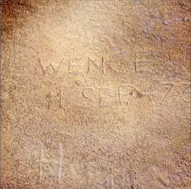 'Wence 11 Sep. 73' scratched on a wall at the national stadium (Estadio Nacional), which is now a memorial to political prisoners and disappeared victims of the Pinochet dictatorship.