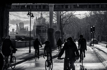 Cyclists on Victoria Embankment.