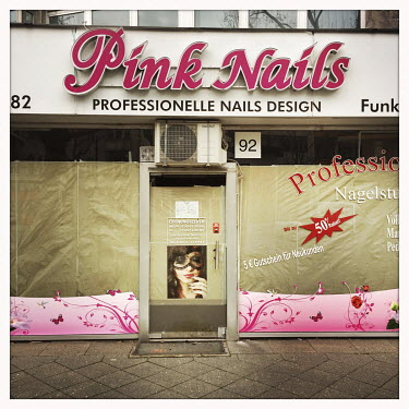 A closed nail shop on the Kurfuerstendamm.