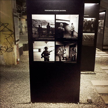 Photographs exhibited at the national stadium (Estadio Nacional), which is now a memorial to political prisoners and disappeared victims of the Pinochet dictatorship.