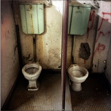Toilets in the national stadium (Estadio Nacional), which is now a memorial to political prisoners and disappeared victims of the Pinochet dictatorship.