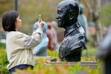 The visitor at the Cihu Chiang Kai-shek Memorial Sculpture Garden. A total 152 statues of the former president of the ROC (Republic of China), Dr. Sun Yat-sen and Chiang Kai-shek's son, former Taiwan...