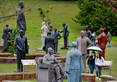 Visitors at the Cihu Chiang Kai-shek Memorial Sculpture Garden. A total 152 statues of the former president of the ROC (Republic of China), Dr. Sun Yat-sen and Chiang Kai-shek's son, former Taiwan Pre...