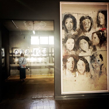 Portraits forming an exhibition in the women's section at the national stadium (Estadio Nacional), which is now a memorial to political prisoners and disappeared victims of the Pinochet dictatorship.