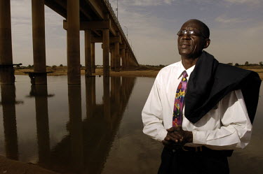 Hissene Ndombet, singer and leader of the Chari Jazz, Chad's longest running band who have been around for 45 years, stands on the banks of the river Chari. The name of the band was choosen by the fir...