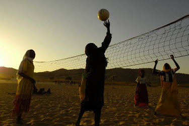 Girls play volley-ball in the Gourounkoum camp for internally displaced persons.