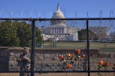 Military personnel guard the Capitol following the invasion by pro-Trump supporters on 6 January 2021. Both National Guard and US Army troops have been billeted in the US Capitol in preparation for Jo...