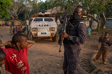 A UN peacekeeping patrol in an area where Muslim IDPs are living.