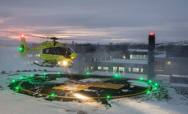 An Airbus H-145 helicopter landing on a helipad at Kirkenes hospital. The helicopter is operated by Norwegian Air Ambulance, and provides an important medical resource for the population in the northe...